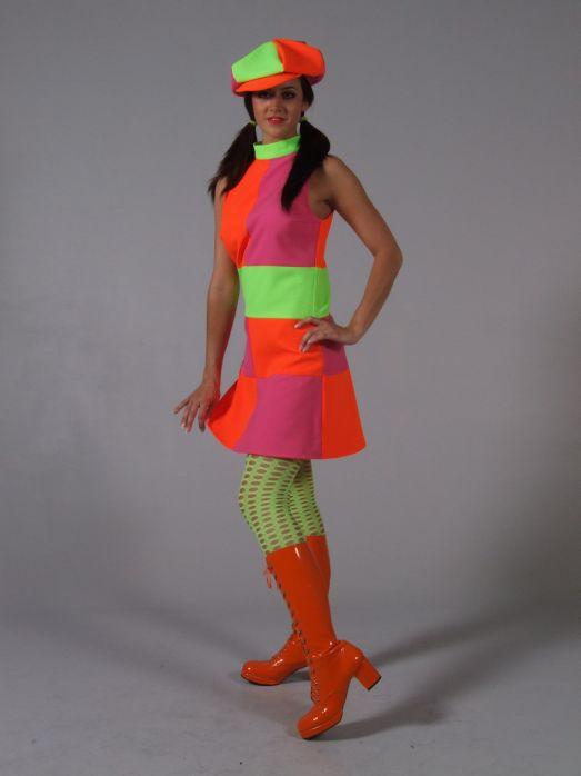 70er 80er Jahre Party Neonkleid Schlager Party Karneval
