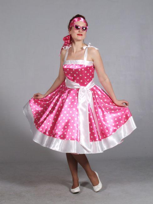50er 60er Jahre Kleid Pink Mit Punkten Kostum Mottoparty Karneval
