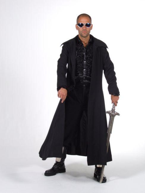 7c90f9b579c2 Langer schwarzer Mantel Karneval Fasching Halloween L