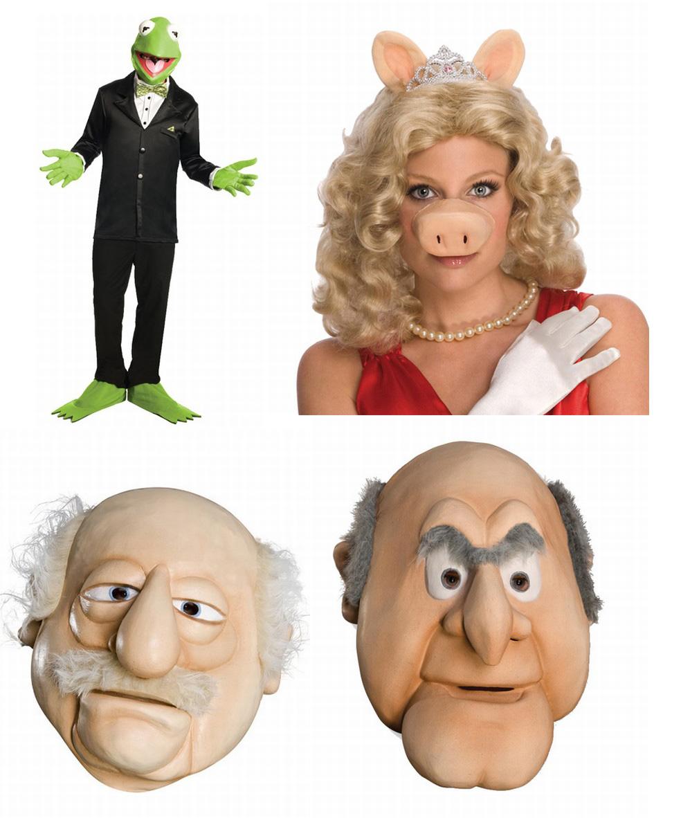 miss piggy set waldorf statler maske kermit frosch set muppets kost m ebay. Black Bedroom Furniture Sets. Home Design Ideas